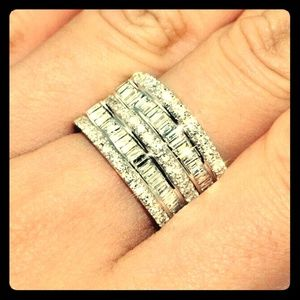 CZ & White Gold Stacked Eternity Ring